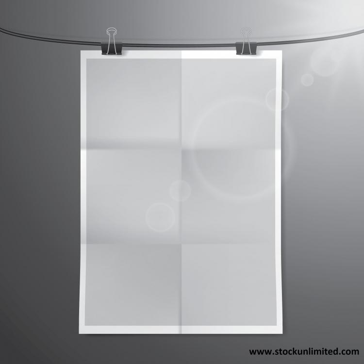 Un papel en blanco colgado de una cuerda