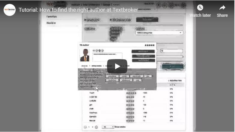 Búsqueda de autores en Textbroker