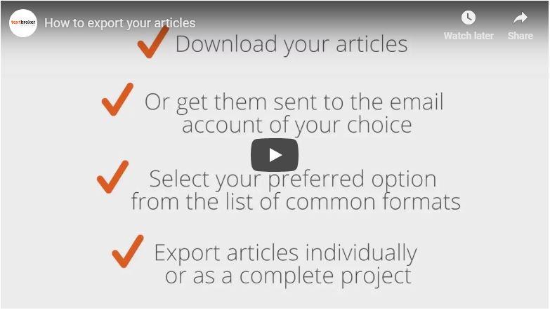 Opciones de exportación de Textbroker