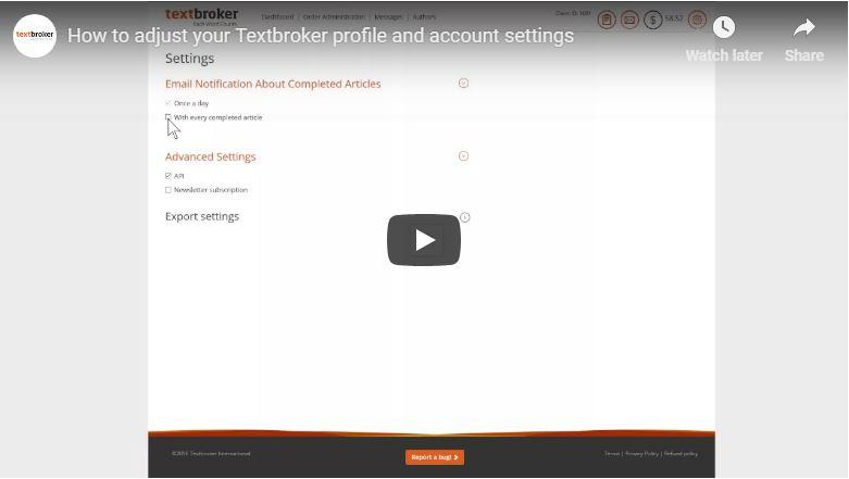 Ajustes de perfil y de configuración en Textbroker